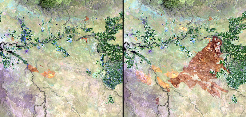 "Left: July 24, 2010 Right: Aug. 25, 2010: ""Wildfires, triggered by lightning strikes during the weekend of August 21 and 22, 2010, burned more than 300,000 acres of sage and grasses in the south-central region of Idaho."""