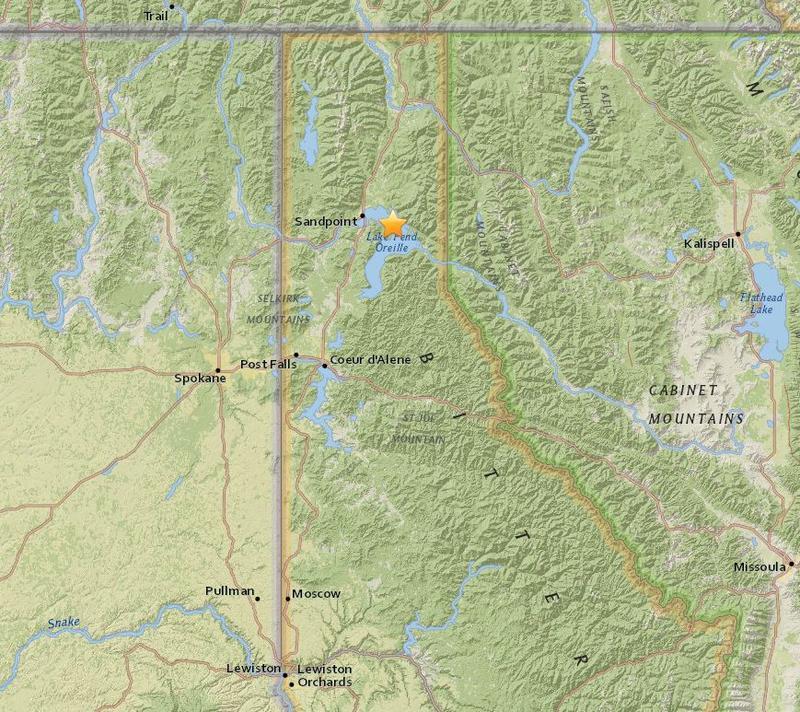 The three earthquakes were near Sandpoint, Idaho.