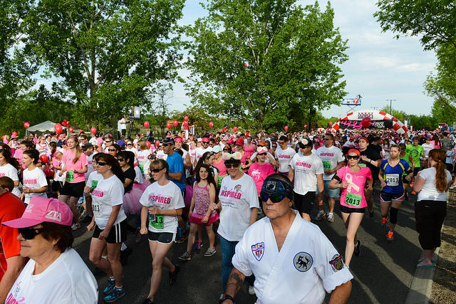 Boise's annual Race for the Cure event draws hundreds of walkers and runners.