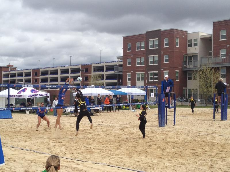 Players from Boise State and Oregon compete in Boise State's first ever home sand volleyball match on April 24, 2015.