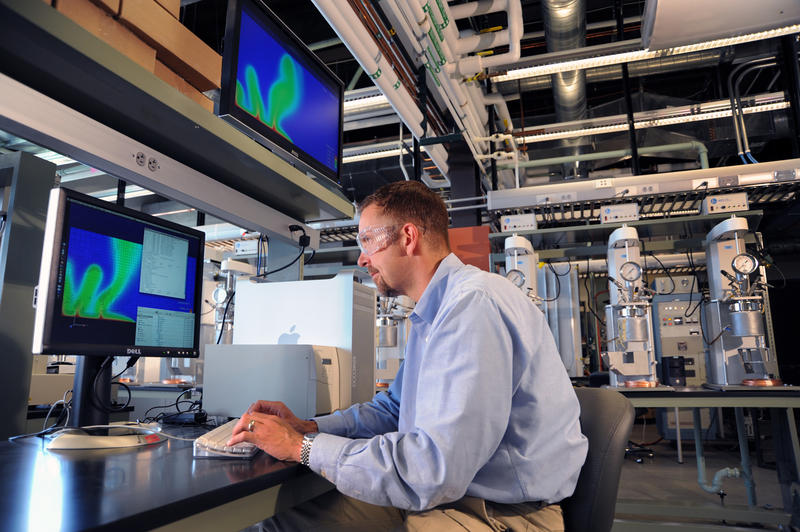 Dr. Robert Podgorney at work in the Center For Advanced Energy Studies.
