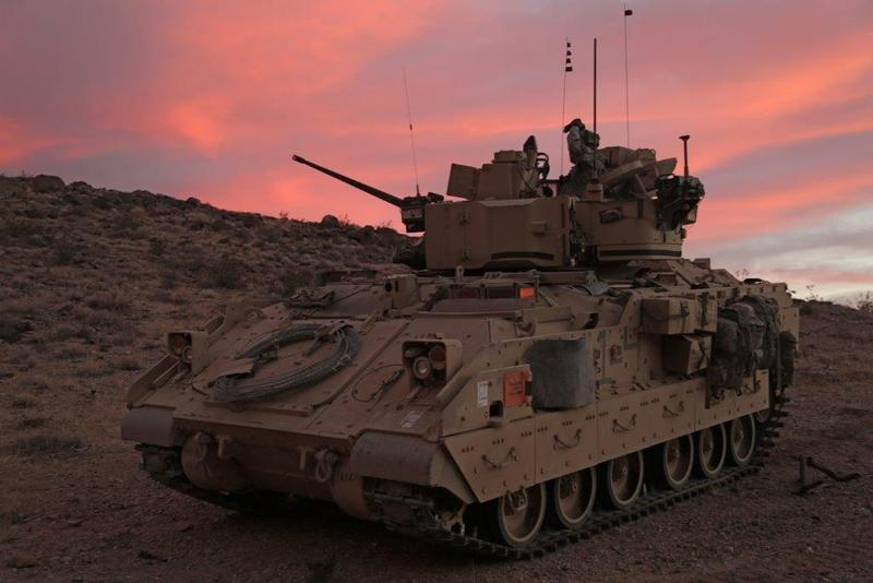 Soldiers from the 116th Cavalry Brigade are driving their Bradley Fighting Vehicles into the Orchard Combat Training Center outside of Boise Monday. Using real ammunition, the 2nd Squadron will shoot at moving targets.