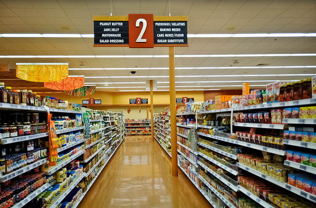 Aisle in unnamed grocery store