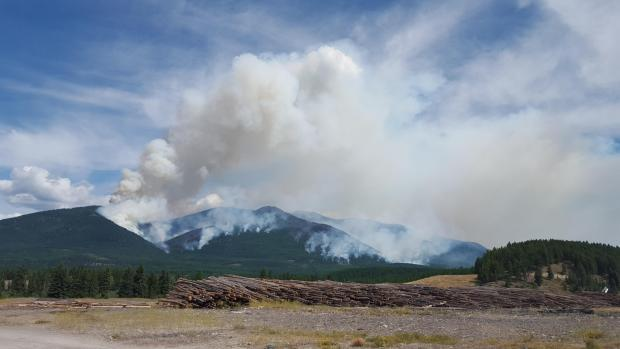 A large plume of smoke over the Marston Fire in northern Idaho.