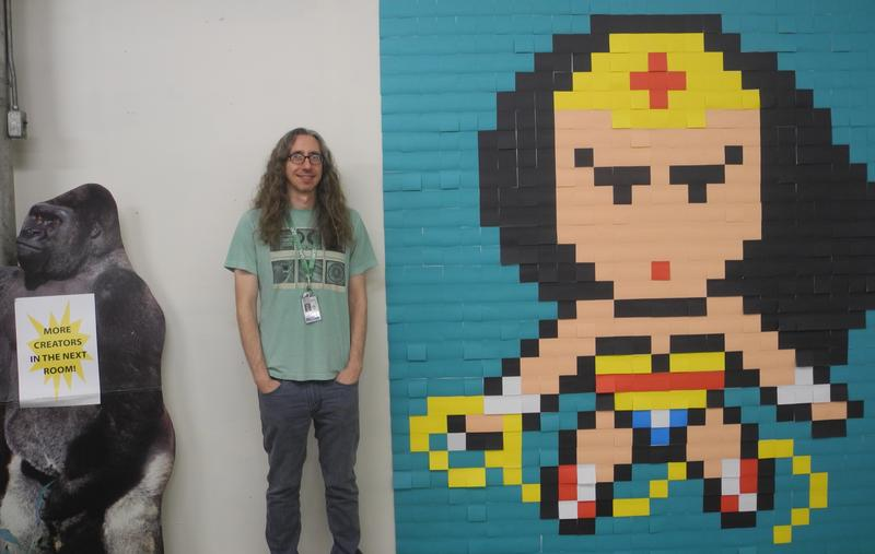 Left to right: cardboard gorilla, Josh Shapel, Post-It note Wonder Woman
