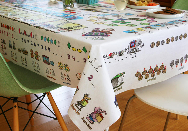 Micky Afnan's tablecloth is filled with math concepts for kids.