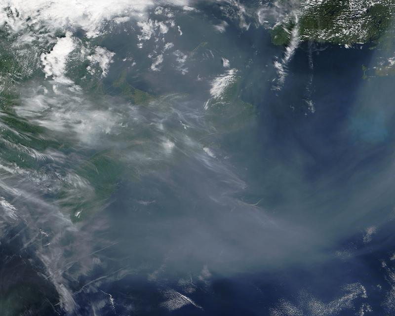 This photo taken over Nova Scotia shows smoke from wildfires in the western U.S. and Canada.