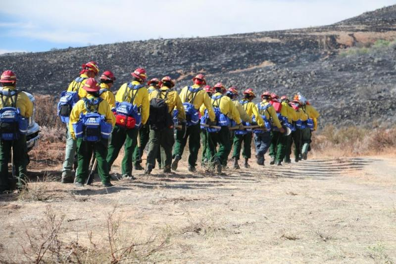A hand crew from New Mexico checks for hot spots on the Lime Hill Fire in eastern Oregon.