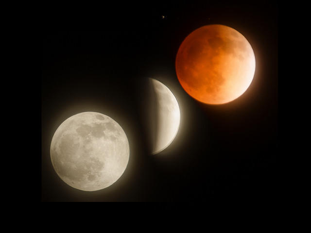 A montage of a Blood Moon lunar eclipse.