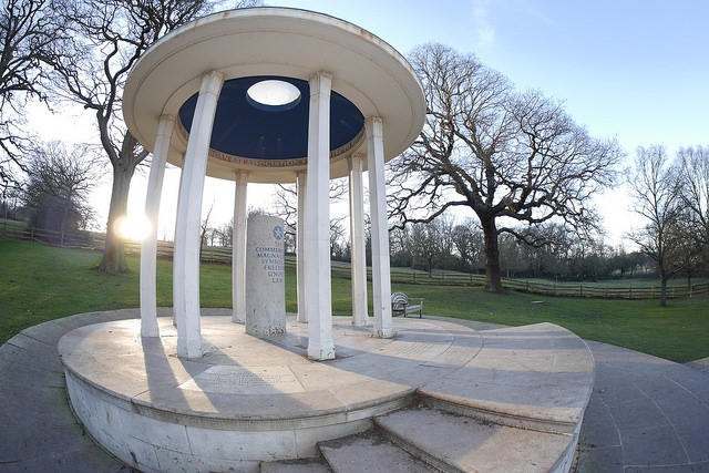 Runnymede meadow in England is where King John signed the Magna Carta in 1215.