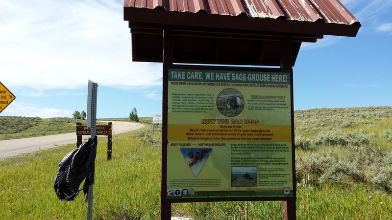A sign promoting sage grouse protection near Utah's Strawberry Reservoir.