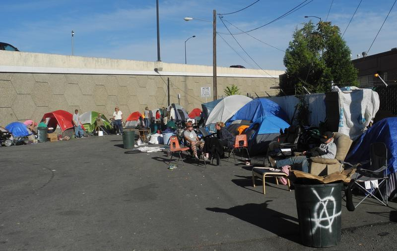 Boise's new tent city is in a service road called Cooper Court owned by the Ada County Highway District.