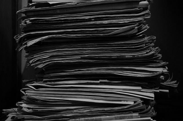 newspaper, newspapers, stack