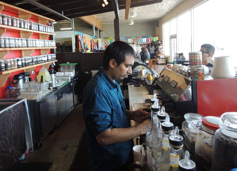 Omid Mousa at Kahve Coffee in the Boise International Market last spring. Mousa and his brother make coffee in styles popular in several countries including Turkey and Ethiopia.