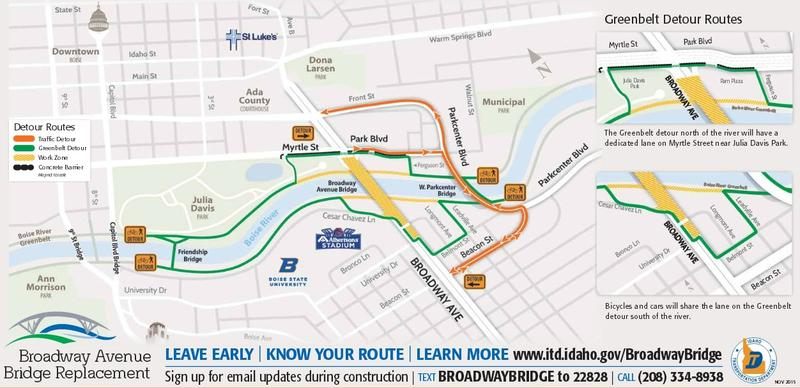 Here's the detour map for the closure of the Broadway Bridge. The bridge will be closed for nine months.