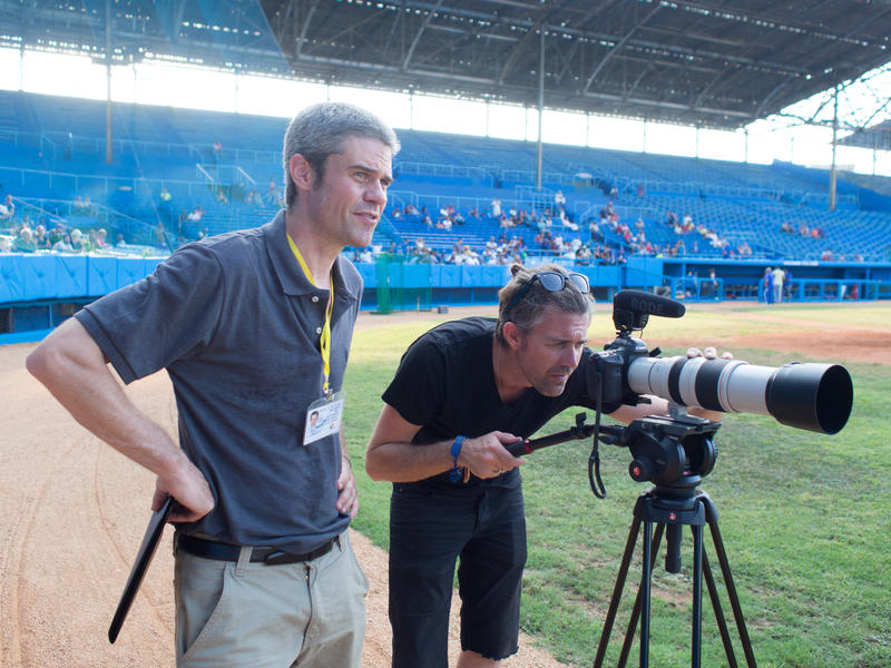 """Filmmaker Reed Lindsay (L) with Matt Larson (R), director of photography on """"Pelota."""" Lindsay and Larson grew up in Ketchum. The short documentary  about Cuban baseball will be screened in March at Filmfort, the movie portion of Treefort Music Fest."""