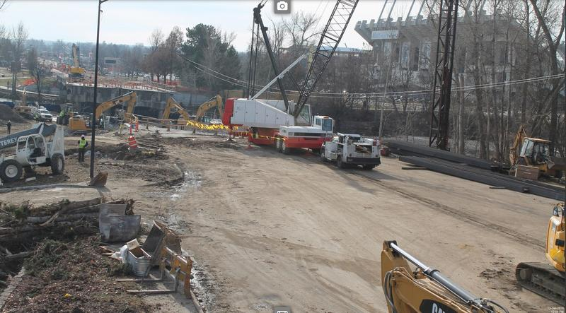 Here's a shot of construction on the bridge as of Tuesday afternoon. Part of the old bridge has already been torn down.