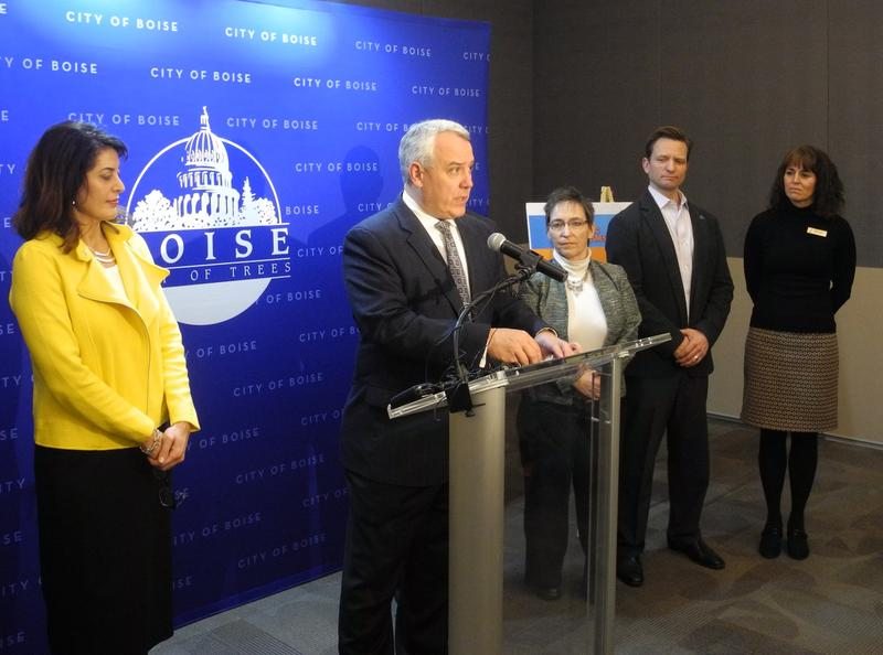 Boise mayor Dave Bieter announced the city's new homeless plan at a press conference Tuesday. He's flanked by representatives of the city and the organizations partnering on this program.