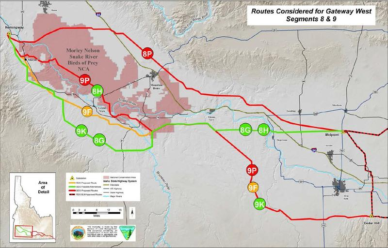 This map shows the original proposed routes (in red) and some of the alternatives (in green).