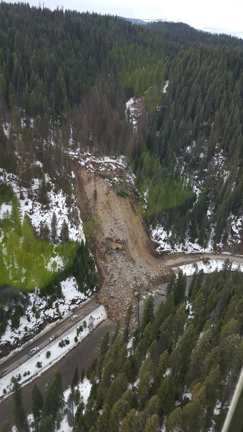 This photo captures the massive mudslide that wiped out Idaho 14 on Thursday.