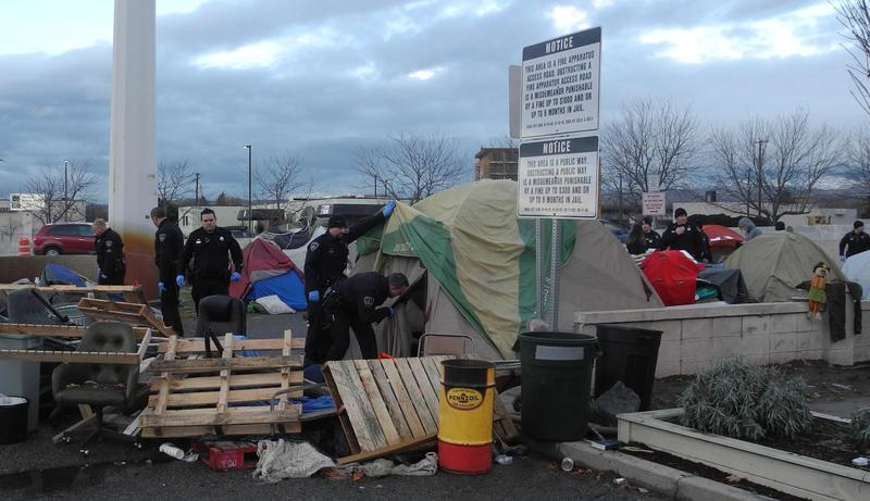 Boise police went from tent to tent when they cleared Cooper Court December 4th.