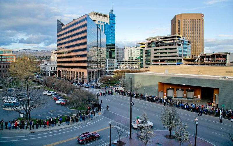 Thousands of Democrats snake through Downtown Boise, waiting to get into the presidential caucus. The high turnout delayed the start of the caucus.