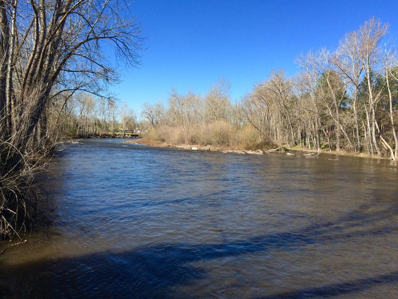 The Boise River near the Park Center Bridge on April 1 filled to both sides of the bank after water was released from Lucky Peak Reservoir. The release comes after a much-needed snowy and cold winter in the mountains.
