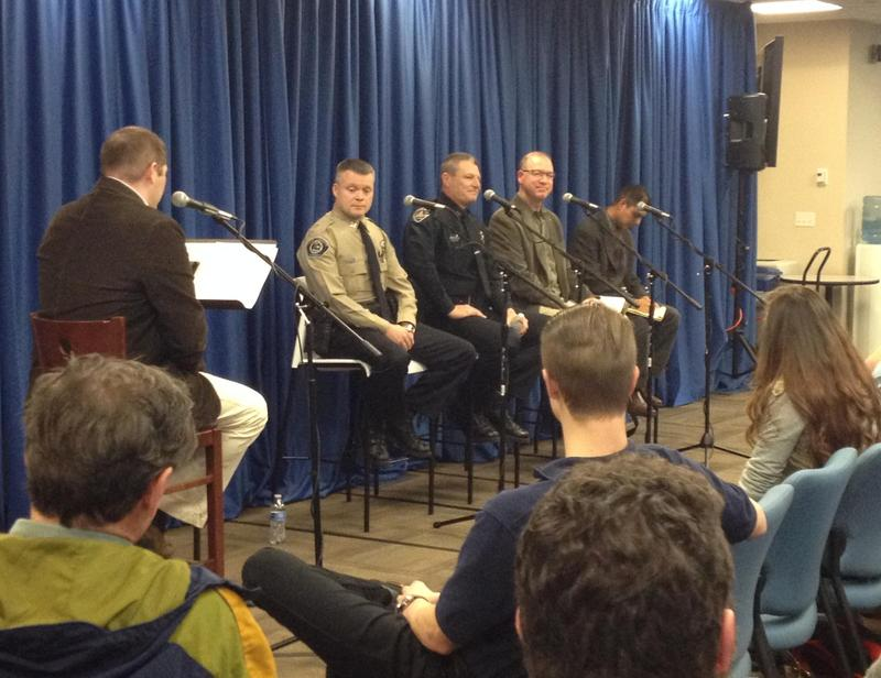 Stephen Bartlett (in the khaki shirt) participated in a Boise State Public Radio panel on community/police relations in February 2015.