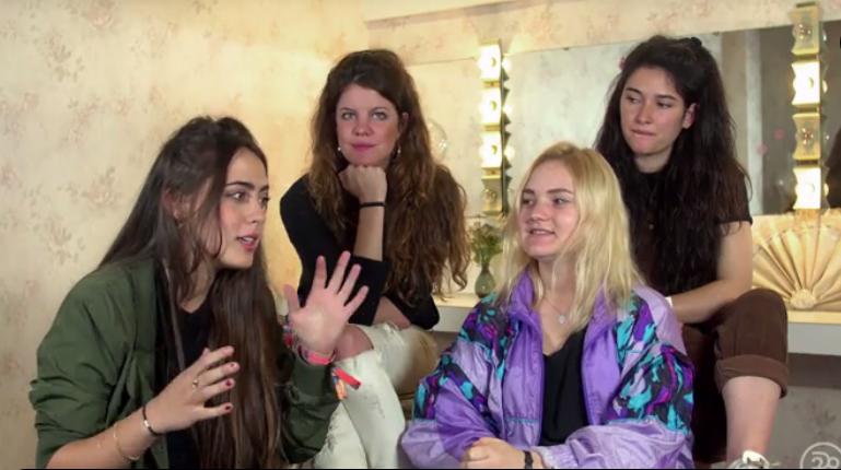 Hinds being interviewed in the women's powder room at Boise's El Korah Shrine during Treefort Music Fest.
