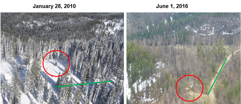 This image shows the Hemlock Butte SNOTEL site before and after a wildfire in 2015. Firefighters dropped retardant over the measuring tool to protect it.