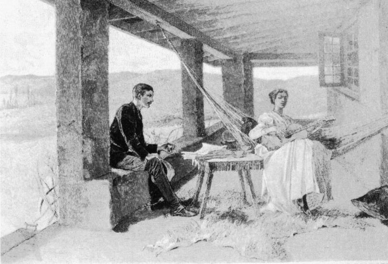 "This illustration, ""The Pretty Girls in the West,"" drawn by Mary Hallock Foote in 1889, features the patio at her home near Lucky Peak Dam."