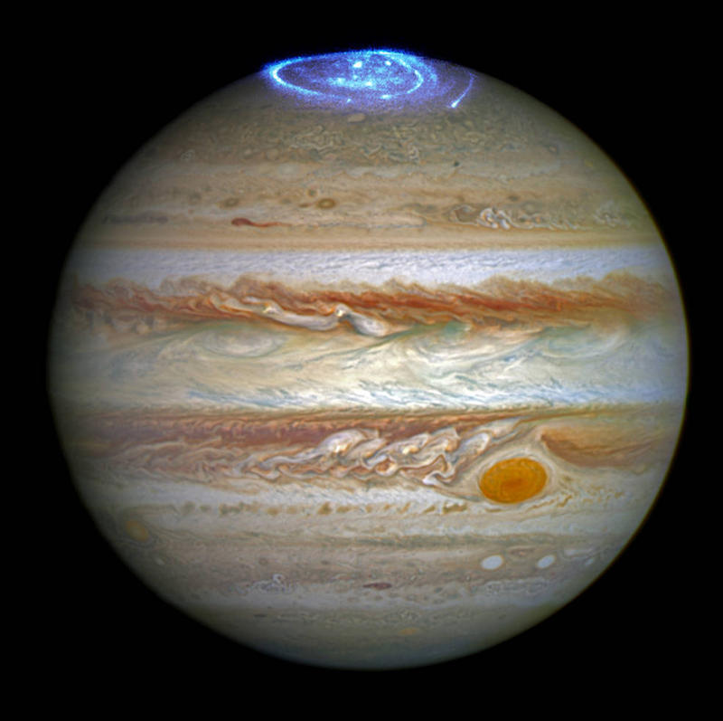 Juno will study the auroras on Jupiter, captured here by Hubble.