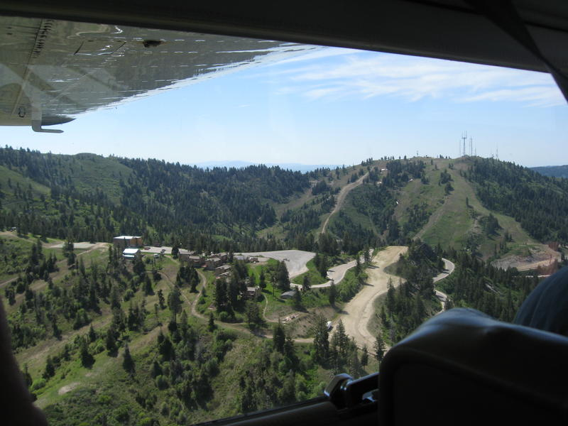 Bogus Basin Resort from the window of a small plane.