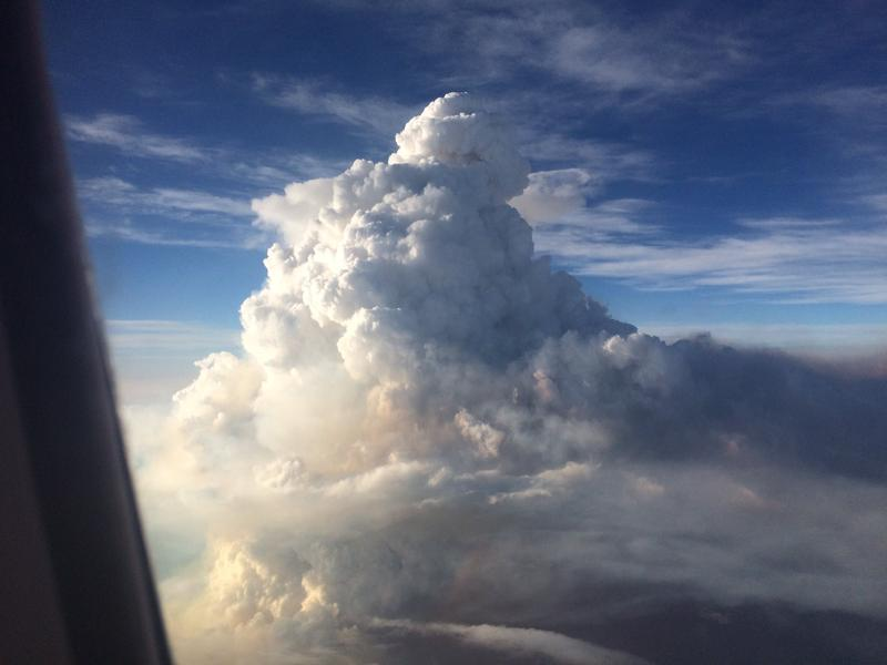 The pyrocumulus cloud from the Pioneer Fire has been tracked at 33,000 feet. Photo taken from the window of a commerical airline flight into Boise Aug. 16.