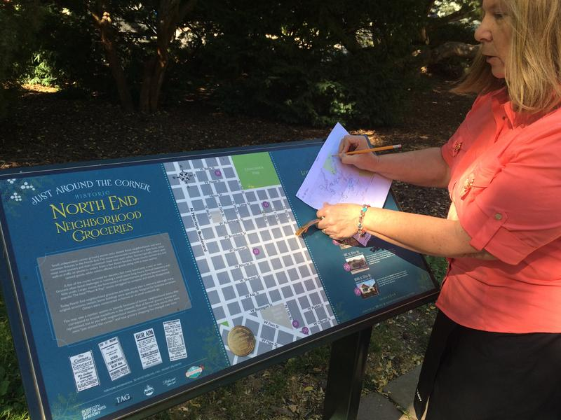 Barbara Perry Bauer maps out the bike tour she'll lead Saturday in Boise's North End. She's been researching where now-defunct groceries used to exist in the historic neighborhood.