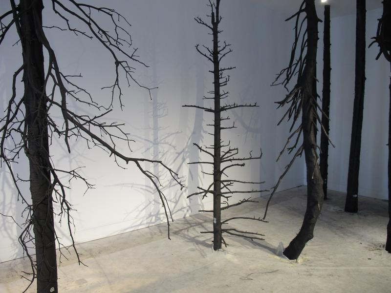 """Some of the 25 trees artist Giuseppe Licari uses in his latest piece, """"Contrappunto,"""" which means counterpoint."""