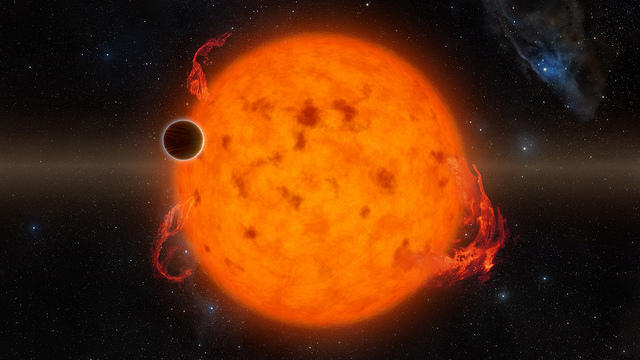 An artist's rendering of an exoplanet that spins around its star every five days.