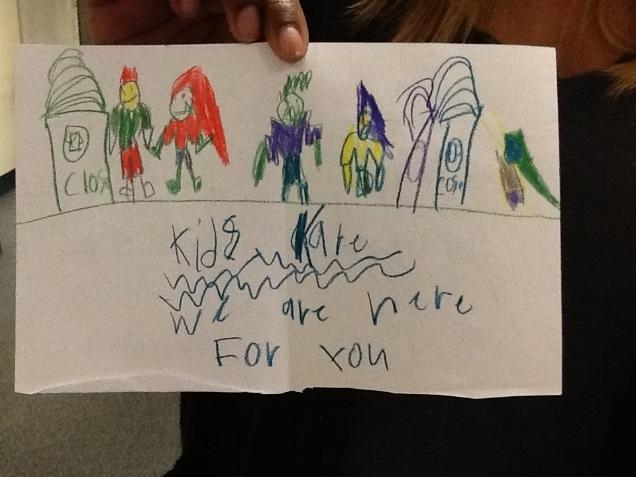 One of the notes written by students at Gateways School in Nampa to students in North Carolina impacted by Hurricane Matthew.