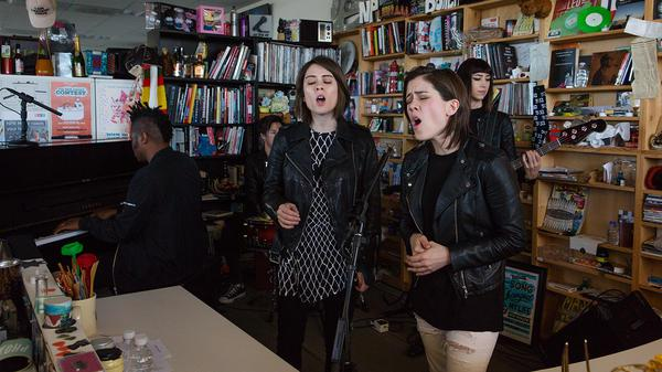 Tiny Desk Concert with Tegan and Sara. (Raquel Zaldivar/NPR.)