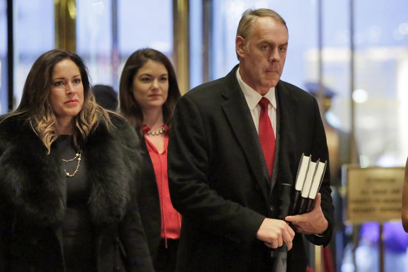 Montana Republican Congressman Ryan Zinke arrives at Trump Tower in New York City Monday.