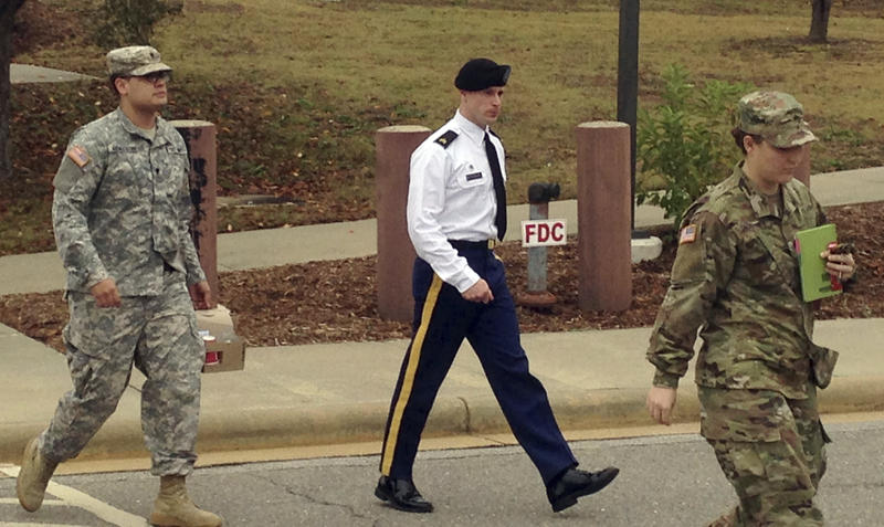 Army Sgt. Bowe Bergdahl is seen leaving a courtroom after a pretrial hearing in Fort Bragg, NC., Monday, Nov. 14, 2016.