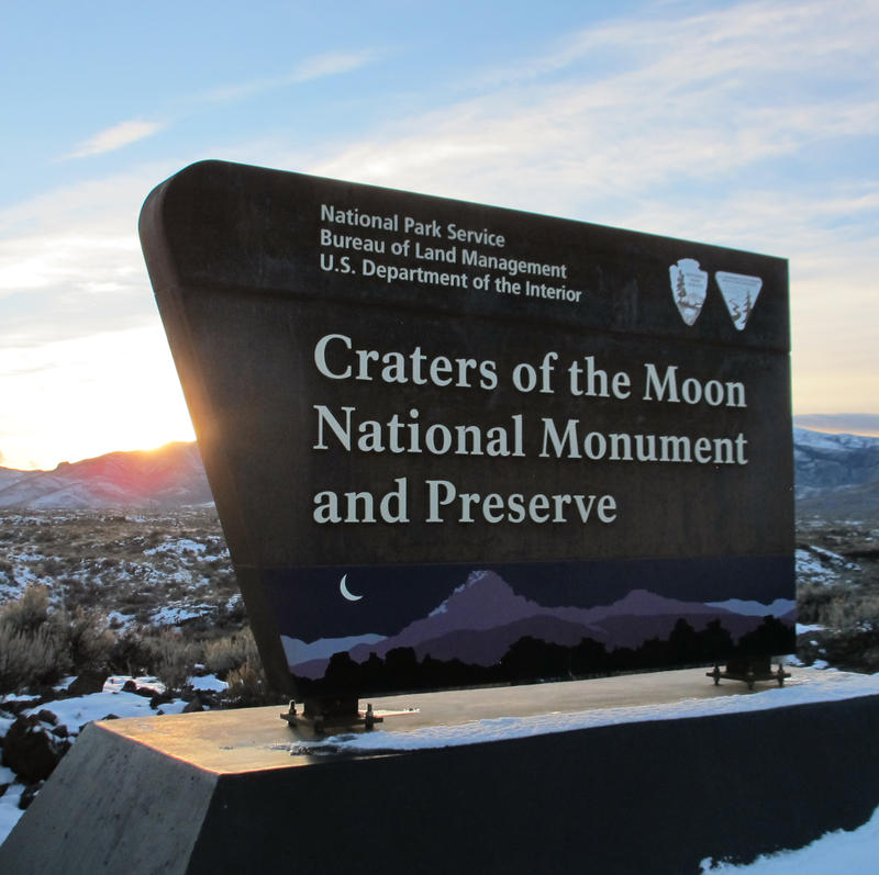 Signage for Craters of the Moon National Monument and Preserve.