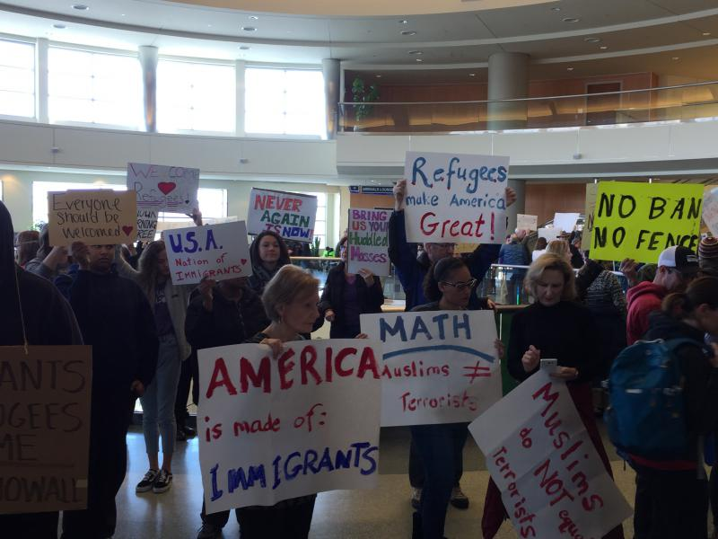President Donald Trump's executive order banning refugees from entering the country sparked a protest at the Boise airport.