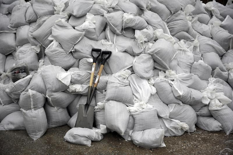 File photo of sandbags in a pile. Thousands of sandbags have been used to protect property in southern Idaho from flooding.