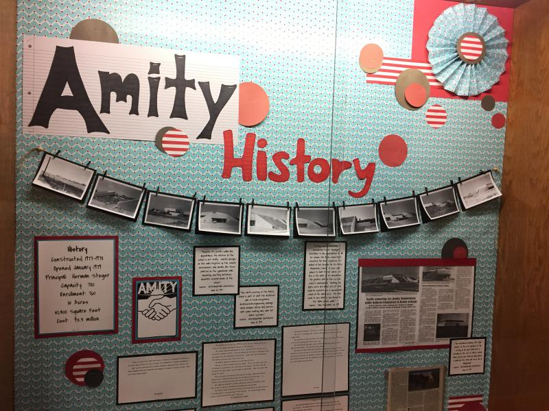A bulletin board at Amity Elementary in south Boise details the history of the school that was constructed in the late 1970s.