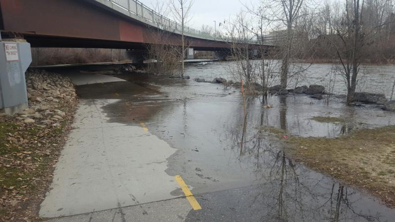 As the Boise River rises to 6,000 cfs, this stretch of the Greenbelt under the Parkcenter Bridge floods.