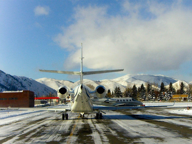 File photo of planes waiting for a take off slot at Friedman Memorial Airport in Hailey, Idaho.