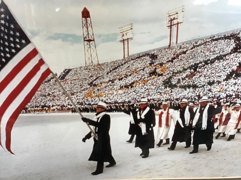 Lyle Nelson carries the flag for the U.S. Olympic team at the opening ceremonies of the 1988 Winter Olympics in Calgary. Like many kids growing up in McCall, Nelson began