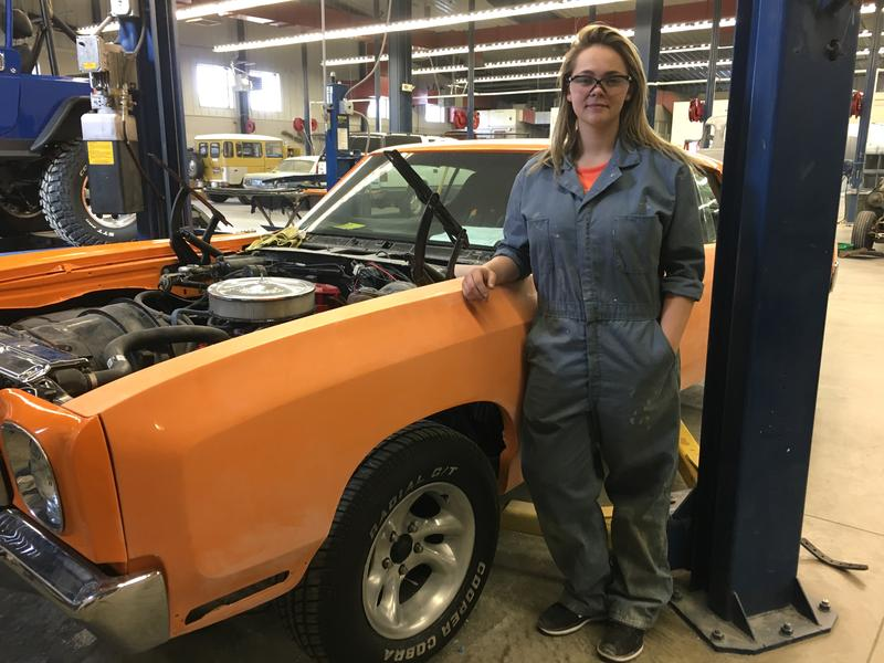 Jaeden Forrey has rebuilt her 1970 Chevy Monte Carlo in her autobody classroom at her career-technical school in Boise.