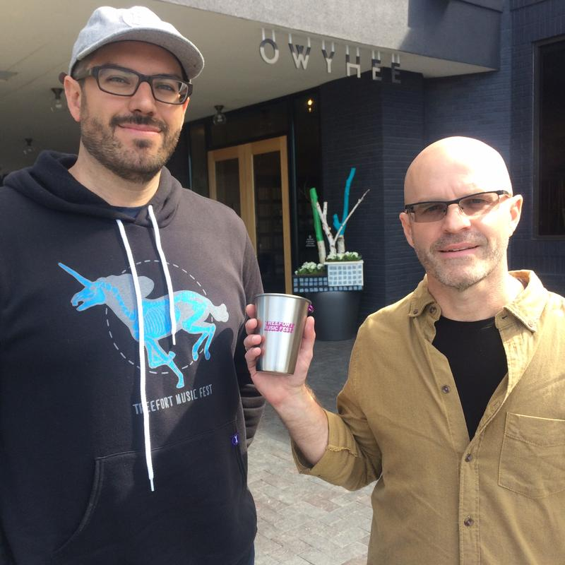 Drew Lorona (left) and David Broderick at Treefort Music Fest with the reusable steel cups featured at this year's festival.